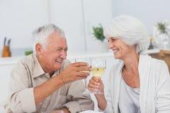Paar het roosteren met witte wijn royalty-vrije stock afbeeldingen