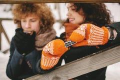 Paar het spelen harmonika samen in de winter in openlucht royalty-vrije stock foto