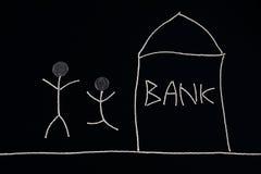 Paar het vieren, kreeg financiële hulp van een bankbank, ongebruikelijk geldconcept, Royalty-vrije Stock Foto