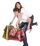 Paar in jeans het winkelen. stock foto
