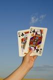 Paar kaarten. Het kruis van de koning en van de koningin Stock Foto