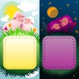 Paar kaders die dag en nacht in aard voorkomen Stock Afbeeldingen
