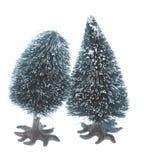 Paar kleine plastic Kerstmisbomen Royalty-vrije Stock Fotografie