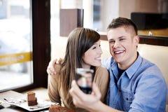 Paar in koffie Royalty-vrije Stock Foto's