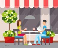 Paar in Koffie bij Lijst in openlucht, de Zomerterras royalty-vrije illustratie