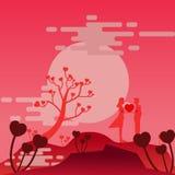 Paar-Liebeshintergrund der Illustration Romanze lizenzfreie abbildung