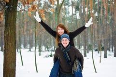 Paar in liefde in bos Royalty-vrije Stock Foto