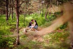 Paar in liefde in het bos Stock Fotografie