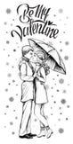 Paar in liefde onder paraplu in de wintertijd Hand getrokken illustratie Royalty-vrije Stock Foto's