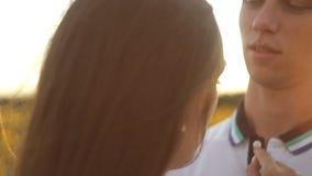 Paar in liefde op een gebied van zonnebloemen die elkaar in de avond koesteren bij zonsondergang stock videobeelden