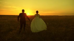 Paar in liefde op een wittebroodswekenreis Bruid en bruidegom Langzame Motie E Gelukkige mens stock video