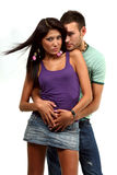 Paar in liefde over witte achtergrond Royalty-vrije Stock Afbeelding