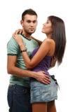 Paar in liefde over witte achtergrond Stock Foto's