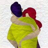 Paar in liefde Twee die minnaars koesteren Romantisch concept royalty-vrije illustratie
