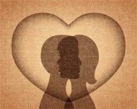 Paar in liefdesilhouetten vector illustratie