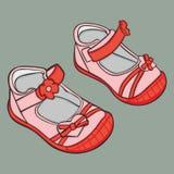 Paar meisjesschoenen Stock Foto's