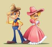 Paar met cowboykostuum Stock Afbeelding