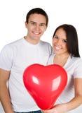 Paar met een rood hart Stock Fotografie