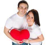 Paar met een rood hart Stock Foto's