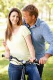 Paar met fiets in park Stock Foto's