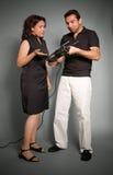 Paar met handboor Royalty-vrije Stock Foto's