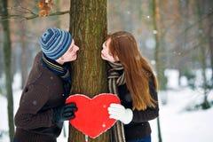 Paar met hart Stock Foto's