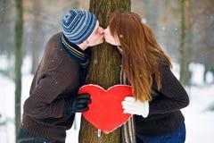 Paar met hart Royalty-vrije Stock Fotografie