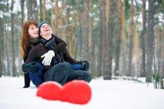 Paar met hart Stock Foto