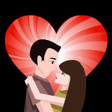 Paar met hart Royalty-vrije Stock Afbeelding
