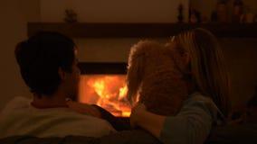 Paar met hondzitting thuis door de open haard stock videobeelden