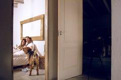 Paar met hun hond in bed stock afbeeldingen