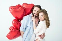 Paar met luchtballons Royalty-vrije Stock Foto's