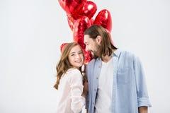 Paar met luchtballons Stock Afbeelding