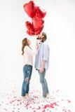 Paar met luchtballons Stock Afbeeldingen