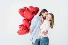 Paar met luchtballons Stock Foto's