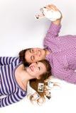 Paar met onmiddellijke camera Royalty-vrije Stock Afbeeldingen