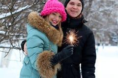 Paar met sterretjes op de straat royalty-vrije stock afbeelding