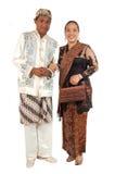 Paar met traditionele kleding van Java Royalty-vrije Stock Afbeelding
