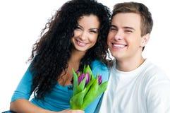 Paar met tulpen Stock Fotografie