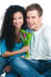 Paar met tulpen Stock Foto's