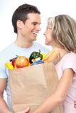 Paar met voedsel Royalty-vrije Stock Afbeelding