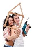 Paar met vouwmeter Royalty-vrije Stock Afbeelding