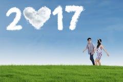 Paar met wolk 2017 op weide Stock Afbeeldingen