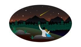 Paar minnaars die op de dalende ster letten stock illustratie