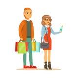 Paar mit mehrfachem Kleidungs-Ausgang sackt das Einkaufen im Kaufhaus, Zeichentrickfilm-Figur-kaufende Sachen im Shop ein lizenzfreie abbildung