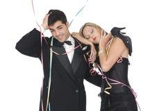 Paar na een nieuwe jaarpartij Stock Foto