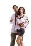 Paar in Oekraïense nationale kleren Stock Afbeeldingen