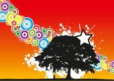 Paar onder boom Stock Illustratie