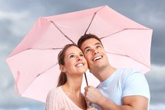 Paar onder paraplu Royalty-vrije Stock Afbeelding