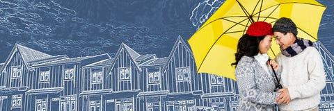 Paar onder paraplu voor de schets van de huistekening stock illustratie